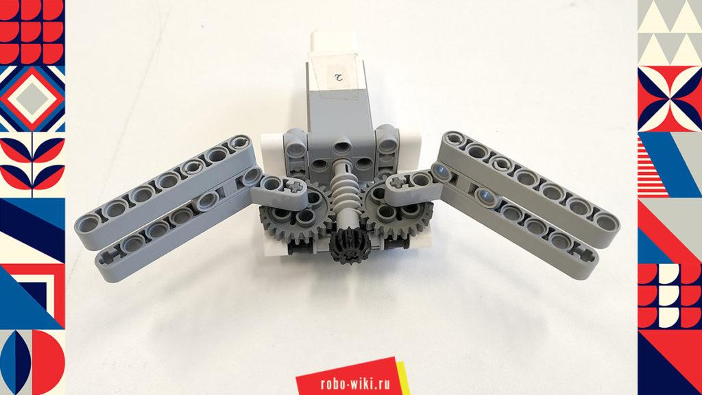 💾 Захват Lego EV3 двухпальцевый на среднем моторе с червячной передачей - вариант 1 v1.1