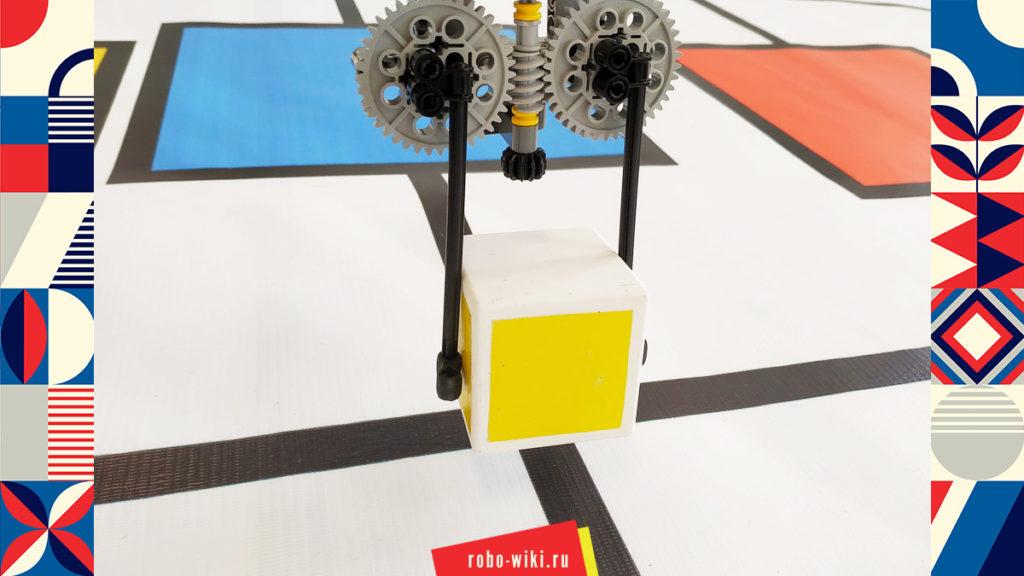 💾🔑 Захват Lego EV3 двухпальцевый на среднем моторе с червячной передачей - вариант 4 v1.2