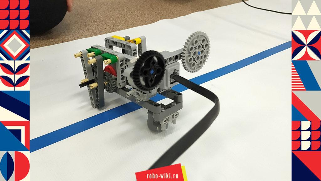 💾 Учебный шагающий одномоторный робот Lego EV3 на кривошипно-шатунном механизме. Гонки шагающих роботов v1.2