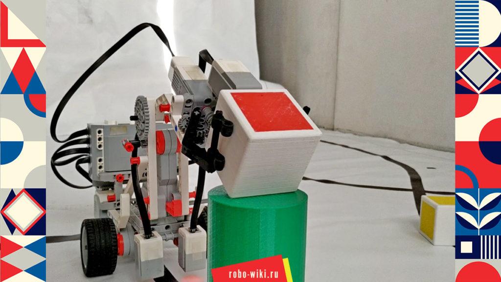 💾🔑 Мобильный однорычажный манипулятор Lego EV3 - вариант 2. Сортировка цветных кубиков v1.1