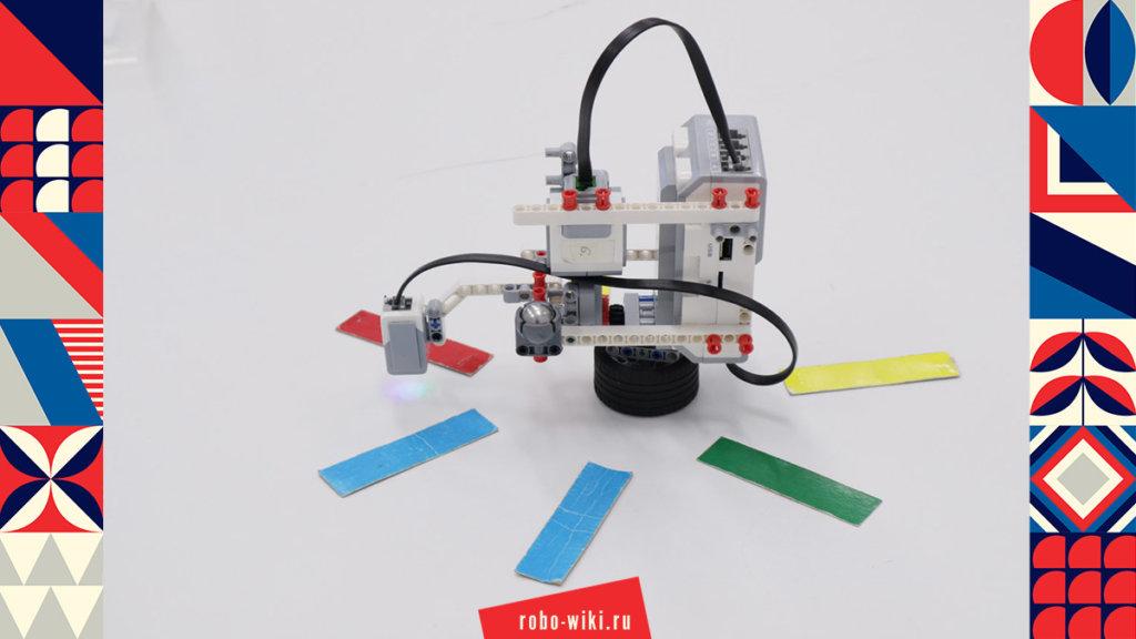 💾🔑 Роторный синтезатор из Lego EV3 на планетарной передаче. Роторный робот-баскетболист с датчиком цвета v1.1