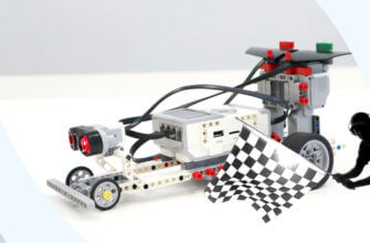 💾🔑 Гоночный автомобиль из Lego EV3. Эхолокация и остановка по ультразвуковому датчику v1.0